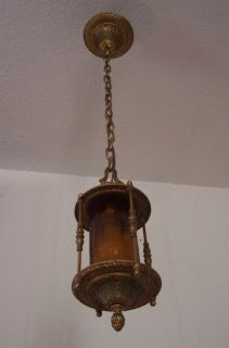Antique Vtg Art Deco Solid Brass Chandelier Pendant Suspended Arrow