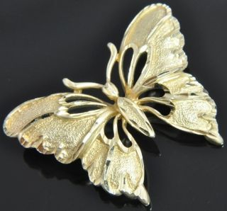 Vintage Michael Anthony 14K Yellow Gold Diamond Cut Butterfly Slide