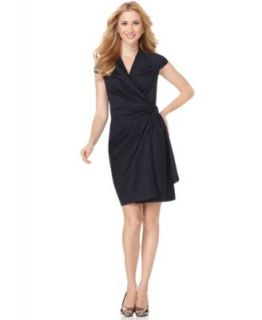 Anne Klein New Navy Pleated Wrap Short Sleeves Wear to Work Dress 4