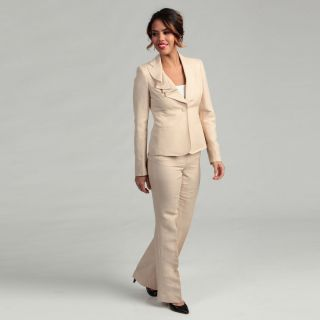 Anne Klein Womens Ruffle Lapel Pant Suit