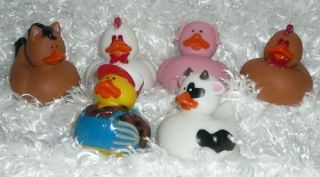 Dozen Animal Ducky Birthday Party Favors Farmer Pig Cow Toy