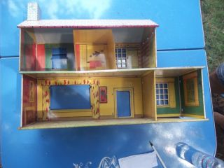 Original 50 60s Marx Tin Metal 2 Story 23x814 1 2 16 12 5 Room Toy