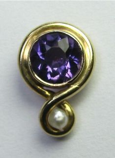 Antique Art Nouveau 14K Gold Amethyst & Seed Pearl Stick Pin