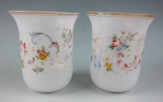 Antique Pair of Baccarat Opaline Glass Vases Gold Flowers French White