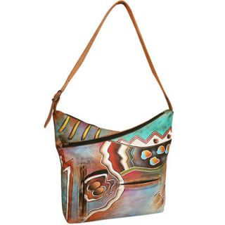 Anuschka V Top Shoulder leather Hobo Bag Hand Painted Abstract
