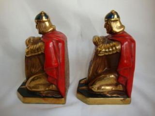 Antique Brass Bronze Polychrome Bookends Knights