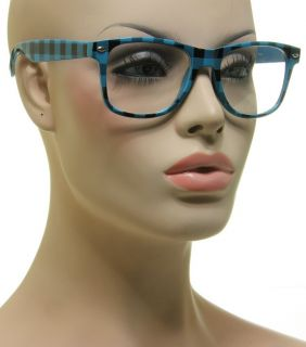 New Vintage Glasses Square Blue Frame Black Plaid Design Clear Lens