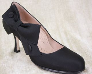 NEW ANYI LU Glamour Black satin heels pumps Shoes 37/ 6.5 $395 Bow NIB