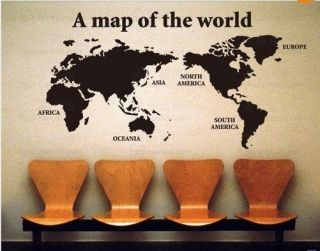 World Map wall stickers art paper wall decal room Decor mural vinyl
