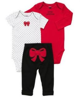 Carters Baby Girl Clothes 3 Piece Set Outfit Red Bow 3 6 9 12 18 24