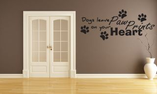 Paw Prints on Your Heart Vinyl Wall Art Decals Sticker J177