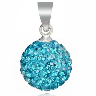 Fashion Jewelry Aquamarine Pave Crystal Ball Pendant Necklace