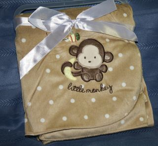 BABY BOYS GIRLS BROWN & WHITE DOTS MONKEY MINKY PLUSH VELOUR SHERPA