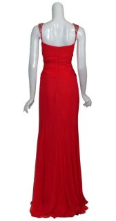 Badgley Mischka Glamorous Red Beaded Silk Chiffon Evening Gown Dress