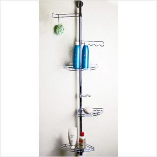 DanyaB Wall Mounted Chromed Metal Corner Shower Caddy ASTV277