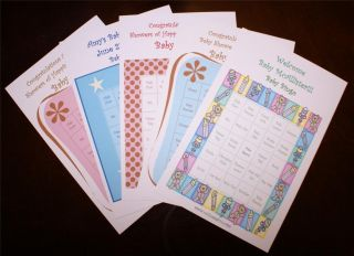 Baby Shower Bingo Game Cards Fully Personalized and Customizable