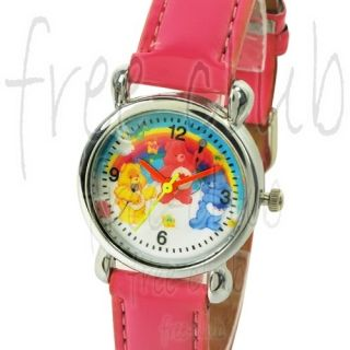 Care Bear Grumpy Love A Lot Funshine Bear Fuchsia Leather Wrist Watch