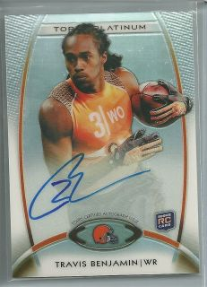 2012 Topps Platinum Travis Benjamin RC Auto Refractor Rookie On Card