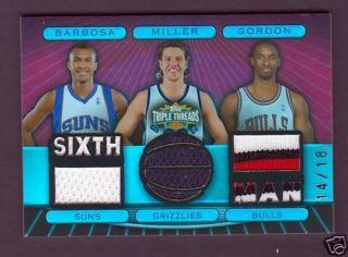 Ben Gordon Mike Miller Leandro Barbosa 2007 08 Triple Threads Patch