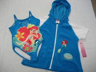Disney Princess Ariel Blue 1 PC Swim Suit C Up Girl 3T