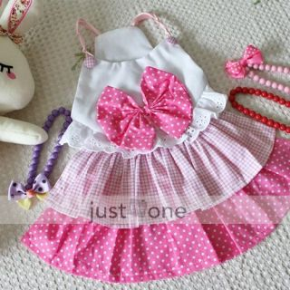 Lovely Big Bow Dog Dress Clothes Costume Skirt Pink M