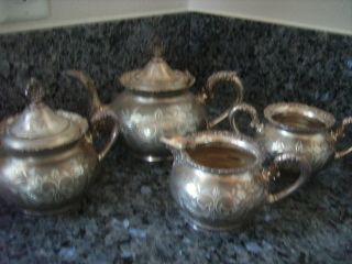 PLATED ANTIQUE TEA SET 4 PIECES OLD MARKED VAN BERCH NEW YORK USA MADE
