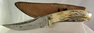 Kershaw Fixed Blade Knife Stag Handle Brass Trim with Leather Sheath