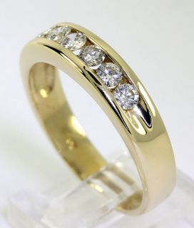MENS CLASSIC 1.00CT 7 ROUND DIAMOND & 14K YELLOW GOLD CHANNEL WEDDING