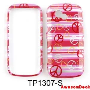 Cell Phone Cover Case for LG Neon 2 II GW370 Trans Peace Sign Hearts