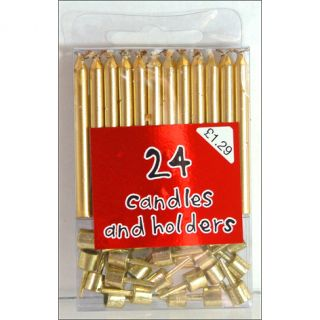 24 Gold Birthday Party Cake Candles Candle Holders