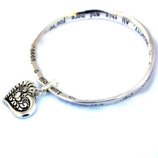 Heart Charm Silver Bangle Grandma Poem Bracelet Birthday Gift