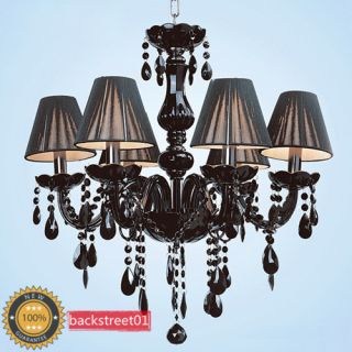 Light Black Murano Glass Crystal Chandelier Light Pendant Lamp