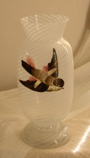 Fabulous antique Victorian Glass Vase with artfully hand painted bird