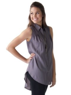 Fashion Button Up Sleeveless Blouse w Tail Sz Gray LT10347BTG