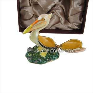 Pelican Bird Trinket Box w Swarovski Crystals Bejeweled