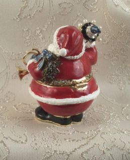 Jeweled Crystal Enamel Santa Claus Trinket Jewelry Box Ceil