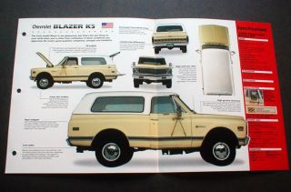 1969 Chevy Chevrolet Blazer K5 Unique Imp Brochure 69