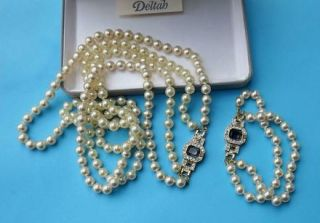 Strand Deltah Mallorca Pearls Necklace Bracelet Set Xtra Long Art