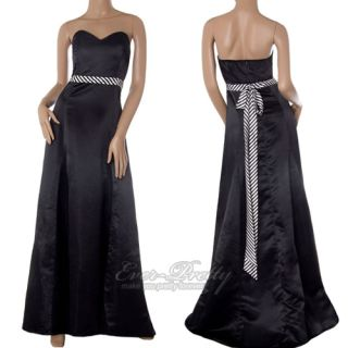 Glamorous Black Tie back Full Length Strapless Formal Gowns 09058 AU
