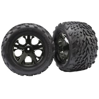 Traxxas 3669A Front All Star Black Chrome Wheels w Talon Tires