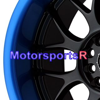 18 XXR 006 Black Blue Lip Wheels Rims Staggered Deep Dish 03 07 08