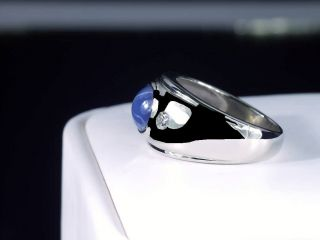 14K WHITE GOLD MENS BLUE STAR SAPPHIRE & DIAMOND RING VINTAGE