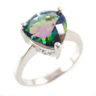 Trigon 4ct Genuine Rainbow Blue Topaz Ring 925 Sterling Silver Size 6