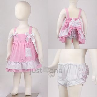 Cute Baby Girls Ruffle Tops Pants Set Bloomers Outfit Dress Nappy
