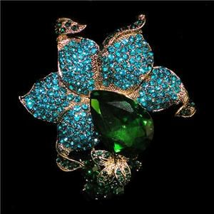 Retro Flower Orchid Drop Pin Brooch Swarovski Crystal Blue Pendant