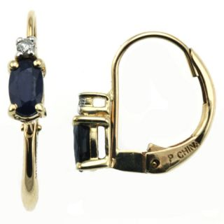 14k Yellow Gold Oval Blue Sapphire Diamond Earrings