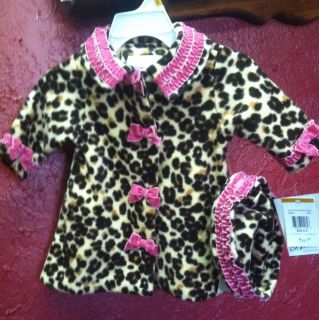Bonnie Baby 2pc Jacket Hat Tan Black Brown Leopard Print Sz 0 3MTH