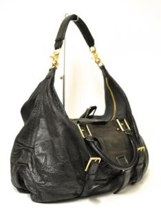 Botkier Sasha Large Black Leather Convertible Duffle Hobo Bag Purse