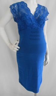 New Royal Blue Lace Bodycon Maternity Fitted VNeck Dress Cocktail