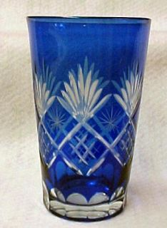 Blue Bohemian Cut Glass Overlay Tumbler Glass New
